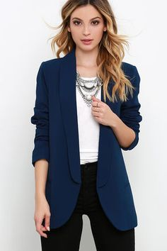 Your day will take a turn for the better as soon as you slip on the Veer Gently Navy Blue Blazer! A collared neckline shapes long, rounded lapels along the front of this woven, open front blazer (with lightly padded shoulders). Horizontal welted pockets decorate the front while long sleeves hang on either side. Kick pleat at back.