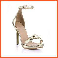 eb0b29f8272 Dolphin Women s Golden Bowtie Open Toe High Heel Sandals with Ankle Strap  SM00005 - Sandals for