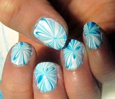White and blue nail marble - nail art, funky nails; another way to keep the polish off your fingers is to cover the skin with petroleum jelly