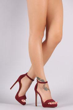Liliana Nubuck Ankle Strap Platform Heel