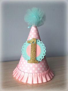 Birthday paper hat pink aqua robin egg gold polka by FiestaBella First Birthday Hats, Birthday Party Hats, 1st Birthday Girls, First Birthdays, Birthday Ideas, Princess Birthday, Carousel Themed Birthday, Carousel Party, Tulle Poms