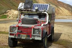 Expedition Land Rover Defender in Iceland. Decent Solar Placement. Very unusual snorkle. Compact winch.