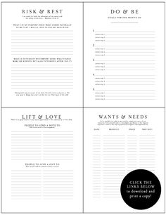Planner & Journaling Printables Awesome free printable worksheets , think I'll include it when putting together strong bonds / reintegration binders