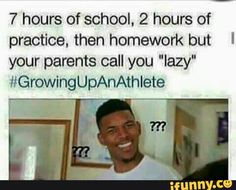 I'm not an athlete but I thought this was funny because my parents call me lazy all the time lol Volleyball Jokes, Softball Memes, Basketball Memes, Sports Memes, Basketball Problems, Soccer Girl Problems, Soccer Humor, Athlete Problems, Football Humor