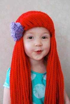 Little Mermaid Ariel Yarn Hair Wig by WillowWardrobe on Etsy