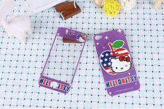 Cute purple Hello Kitty Design Front Back Skin Sticker Protector for iPhone 4 4S Buy one get one free $6.99