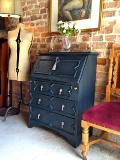Antique Upcycled Writing Desk Bureau Solid Oak by lovelytradings