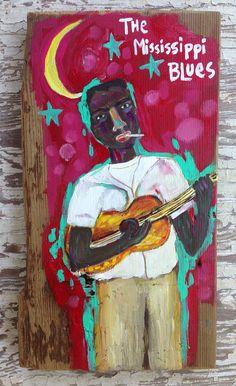 Folk Art on Reclaimed Wood Mississippi Blues  on Etsy, $68.00