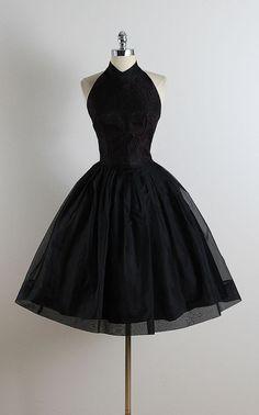 ➳ vintage 1950s dress * black organza * black floral lace bodice * acetate…