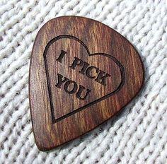 Wood Guitar Pick  Handmade Custom Engraved by NuevoWoodcrafts