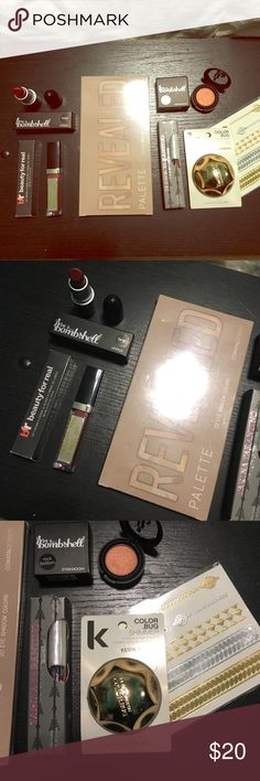 NIB make up 7 pc Lot assorted brands New in original packaging. Make up lot of assorted brands. Over $150 worth of products. Beauty for real lip cream. Be a bombshell lipstick in tango and eyeshadow in rock bottom. Revealed eyeshadow palette by coastal scents, 20 colors. Tarina Tarantino glitter eyeliner. Keven Murphy color bug in shimmer (colored eyeshadow) and metallic pur-lisse skin sparkle flash tattoos Makeup