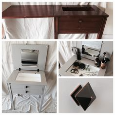 From an outdated sewing machine cabinet to an updated vanity!  There was no machine, so the transformation made perfect sense.  She's a real beauty and so functional in her new role!!