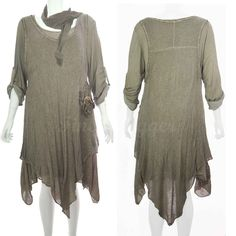 Italian Quirky Layering Lagenlook 3 Piece Scarf Tunic Mohair Dress Top Plus Size