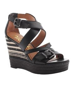 15023c72805 Black Danica Leather Wedge Sandal by nicole  zulilyfinds Black