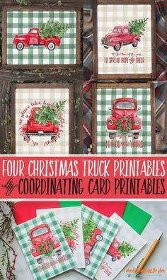 christmas holidays Eight Red Christmas Truck Printables and Coordinating Greeting Card Printables. Each print is available in both green and neutral buffalo check backgrounds. These are a super sweet way to add a vintage touch to your holidays. Christmas Red Truck, Christmas Signs, Rustic Christmas, Christmas Holidays, Christmas Decorations, Vintage Christmas Party, Christmas Carol, Buffalo Plaid Christmas Ornaments, Buffalo Check Christmas Decor