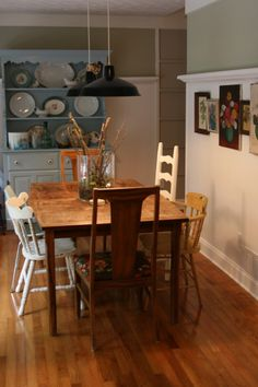 """Use what you have"" dining room. Lots of character. I much prefer this to a shiny matchy dining room table and chairs."