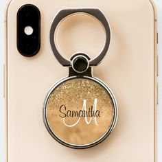 Shop Girly Glam Gold Glitzy Glitter Sparkle Monogram Phone Ring Stand created by GirlyChic. Ring Holders, Ring Stand, Sparkle, Monogram, Girly, Glitter, Phone Cases, Personalized Items, Rings