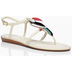 kate spade new york Toucan Sandals ($250) ❤ liked on Polyvore featuring shoes, sandals, cream, cream flats, stacked heel sandals, t-bar sandals, summer flats and cream sandals