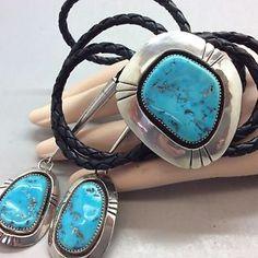 Navajo Vintage Large Blue Gem Turquoise Sterling Signed Bolo   eBay