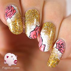 Gold glitter with pink roses nail art | by narmaii
