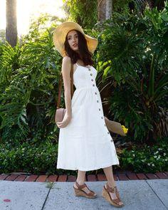 White linen button front dress