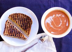 Vegan American grilled cheese sandwiches and tomato soup