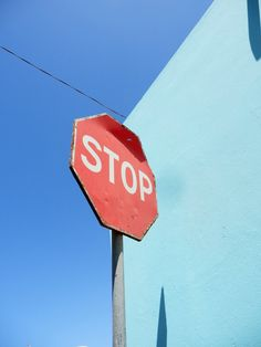 Stop sign. Red and aqua