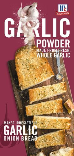 Quick and easy dinner idea: Complete your favorite Italian meal with this irresistible garlic bread. McCormick Garlic Powder is made from quality garlic, dried and ground without added fillers. CLICK Visit link to see Bread Recipes, Cooking Recipes, Herb Recipes, Turkey Recipes, Yummy Recipes, Vegetarian Recipes, Recipies, Cupcakes, Jambalaya