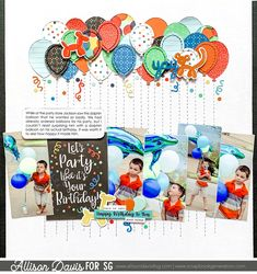 Birthday Scrapbook Pages, Kids Scrapbook, Disney Scrapbook, Scrapbook Paper, Scrapbooking Ideas, Scrapbook Sketches, Scrapbook Page Layouts, Order Balloons, Party Layout