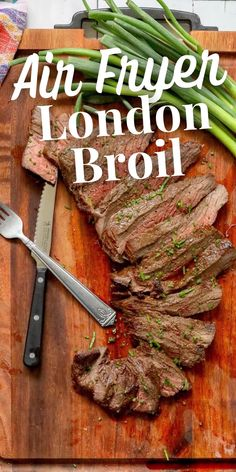 The Best Air Fryer London Broil Recipe - Instant Pot #instantpot Free Keto Recipes, Easy Meat Recipes, Clean Recipes, Pork Recipes, Dinner Recipes, Yummy Recipes, Yummy Food, London Broil Marinade