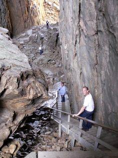 climbing down the hole - Torghatten mountain - Norway