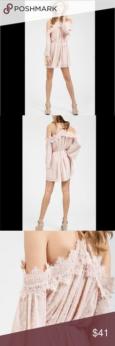 Blush Pink Haltered Neck Lace Dress Brand new listing & it's gorgeous! A Haltered neck Lace Dress with shoulder sleeves. Sexy, Chic, and A must have style in the closet! Size S fits a 2/4. Medium is 6/8. Large is a 10/12 fit.  _______________________________________  [Trindy Clozet Boutique Policies]  ✅ Next Business Day Shipping (possibly same day) ✅ Retail prices are firm unless bundled.  ✅ No trades.  Find more styles on our website@  Spreesy.com/trindyclozet  Insta trindy_clozet FB…
