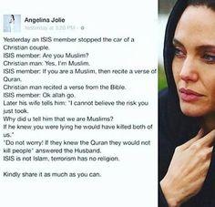 قصة منشورة على صفحة التواصل الاجتماعي للممثلة المشهورة أنجلينا جولي (ممثلة الأمم المتحدة لشئون اللاجئين) لتخبر بها الجميع بأن داعش لا يمثلون الاسلام وأن الارهاب لا دين له