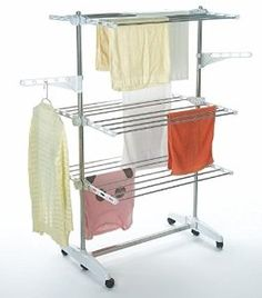 Todeco - Clothes Airer on wheels - 3 Tier Foldable Laundry Drying Rack: Amazon.co.uk: Kitchen & Home