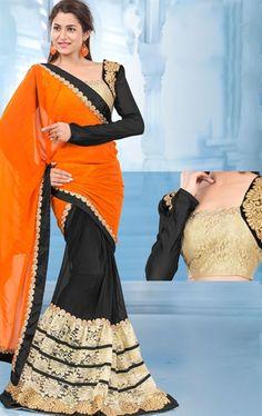 Picture of Excellent Orange and Black Color Saree