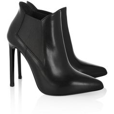 Saint Laurent Leather ankle boots ($950) ❤ liked on Polyvore