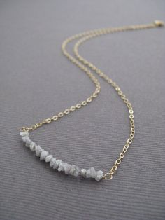 Rough Diamonds Modern Necklace with 14K GF by FacciaFelice on Etsy, $38.00