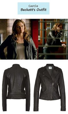 """On the blog: Kate Beckett's (Stana Katic) black leather moto jacket 