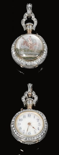 TINTED INTAGLIO AND DIAMOND POCKET WATCH, LATE 19TH CENTURY The circular dial applied with golden guilloché enamel and blue Arabic numerals, the bezel and handle set with single-cut and rose diamonds, the reverse set with a tinted intaglio depicting a steeplechase scene, one small diamond deficient.