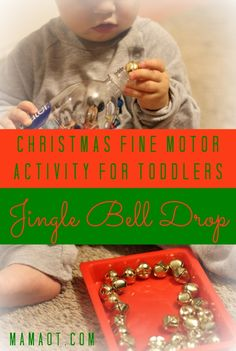 Show your toddler how to drop jingle bells into an empty water bottle, and you've got yourself a simple yet engaging fine motor activity! *only do with children under supervision, and who will not place the jingle bells in their mouth