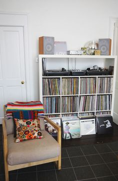 vinyl storage and record player