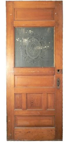 Beautiful Antique Heart Pine Door with Original Acid-Etched Glass, c. 1890's For Sale | Antiques.com | Classifieds