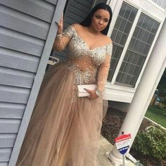 84ce2acbd8d Champagne Tulle Crystal Long Sleeve Evening Party Dresses 2018 Modest  Sparkly Luxury Sexy African Occasion Prom Dress Gowns Plus Size