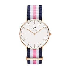 Daniel Wellington's Classic Canterbury is a timeless wrist watch with a white dial and rose gold details, perfectly matched with the playful Canterbury NATO strap. Southampton, Daniel Wellington Women, Bracelet Nato, Dw Watch, Pink Watch, Watch Band, Nato Strap, Classic Collection