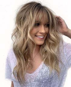 50 Cute and Effortless Long Layered Haircuts with Bangs Voluminous Lon. - 50 Cute and Effortless Long Layered Haircuts with Bangs Voluminous Longer Layered Hairsty - Long Hair Cuts, Wavy Hair, Bangs Long Hair, Short Cuts, Thin Hair, Blonde Hair Bangs, Thin Bangs, In Style Hair Cuts, Hair Long Face