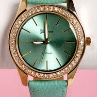 Tick Tock of the Town Mint Green and Gold Watch