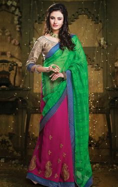 Picture of Trendy Green and Pink Indian Cotton Sarees Online Shopping
