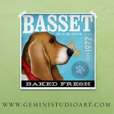 Basset baking company vintage style graphic art giclee archival signed print by stephen fowler Pick A Size