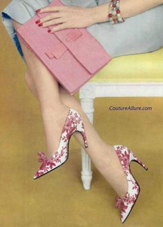 Roger Vivier for Christian Dior pink silk toile shoes, 1959.