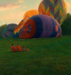 "Scott Prior, Balloons, 2010, oil on panel,  8 1/2 x 8"" at William Baczek Fine Arts www.wbfinearts.com"